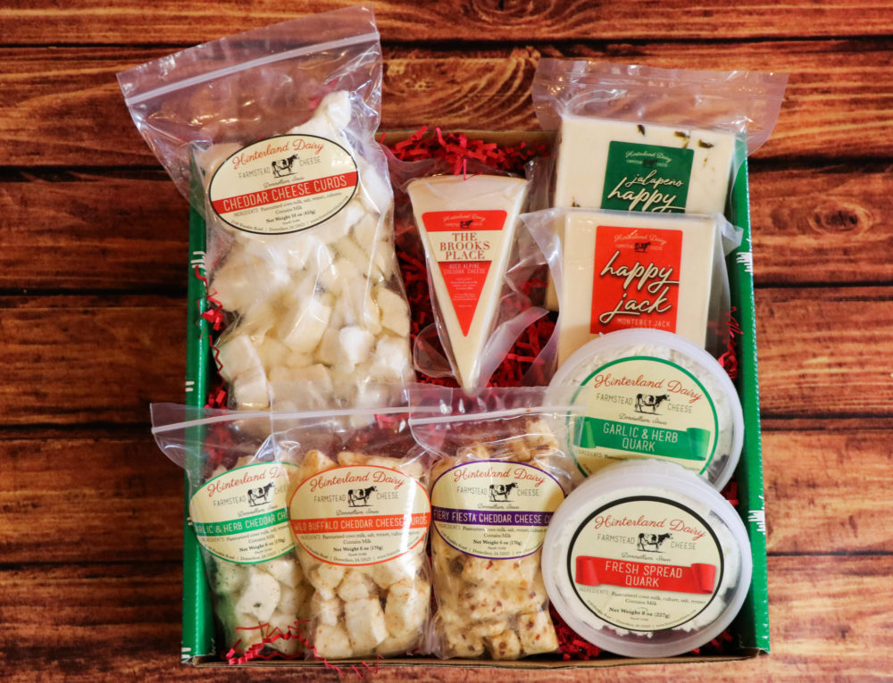 Box filled with cheeses from Hinterland Dairy Creamery