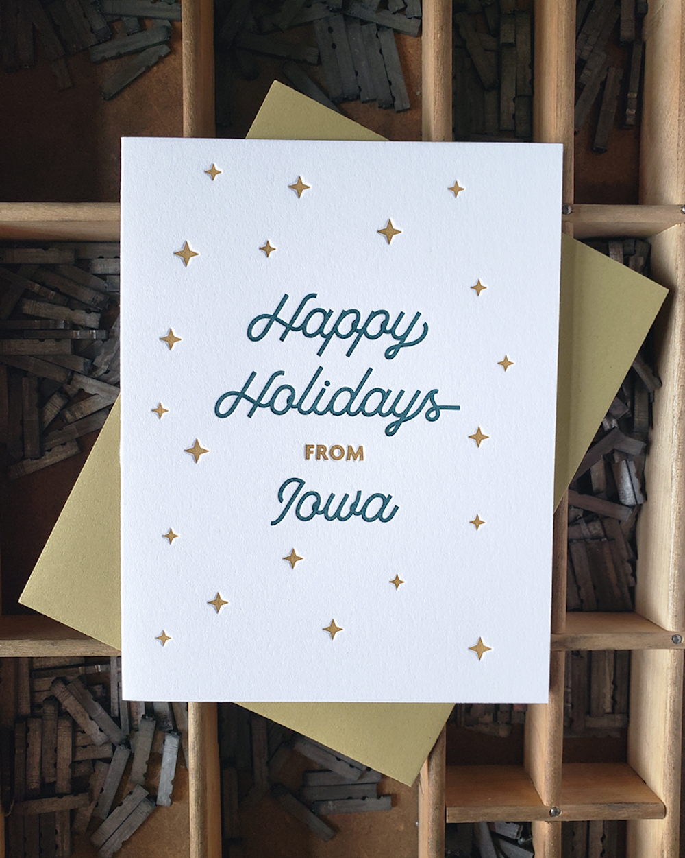 "Letterpress card that says ""Happy Holidays from Iowa"" from Iron Leaf Press in Mount Vernon, Iowa"