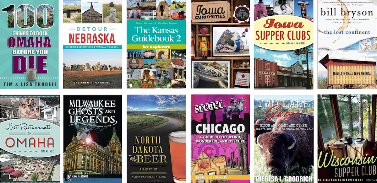 Graphic of covers of Midwest travel books