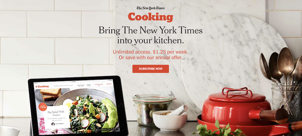 New York Times Cooking subscription landing page
