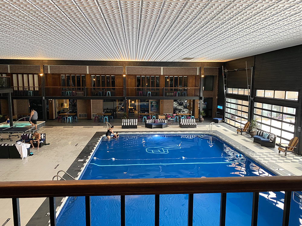Pool area at The Highlander Hotel in Iowa City, Iowa