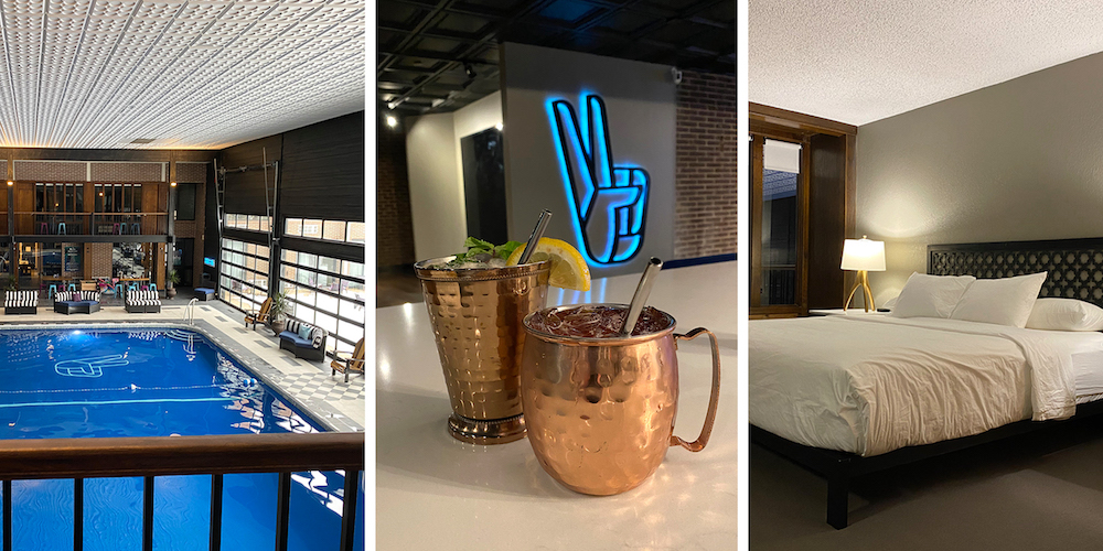Three-image graphic featuring pool area, two drinks in copper mugs and bed with white linens at The Highlander Hotel in Iowa City, Iowa