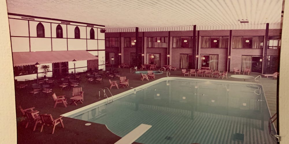Vintage look of the pool area of The Highlander Hotel in Iowa City, Iowa