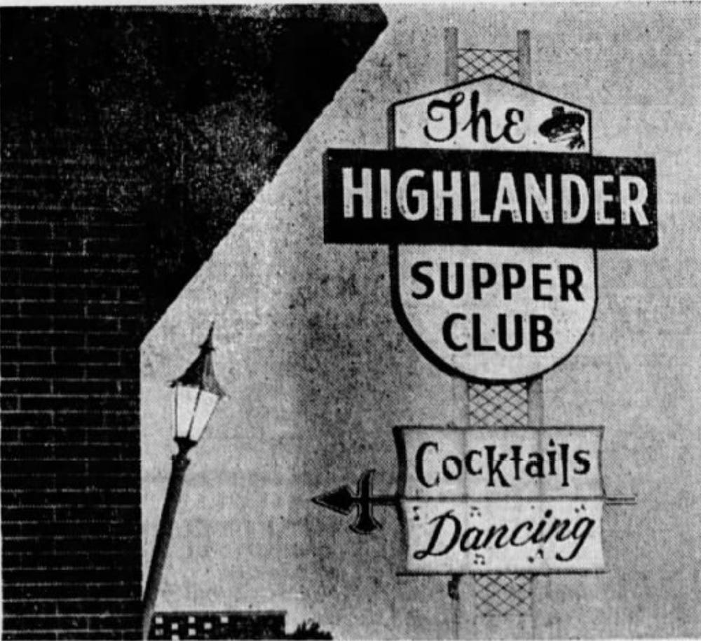 Vintage newspaper ad for The Highlander Supper Club in Iowa City, Iowa
