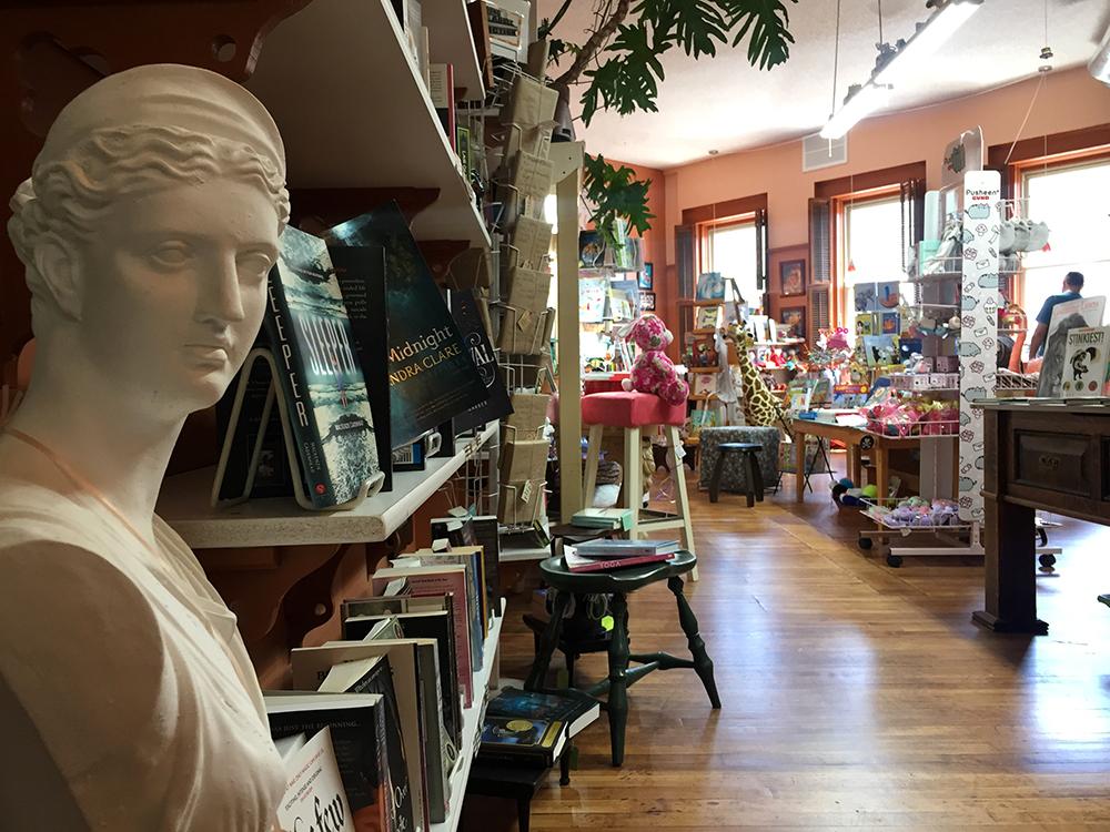 Marble bust in front of bookshelf at Paper Moon in McGregor, Iowa