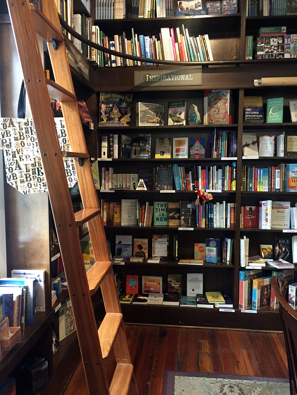 Floor to ceiling bookshelves with wooden ladder at River Lights Books in Dubuque, Iowa