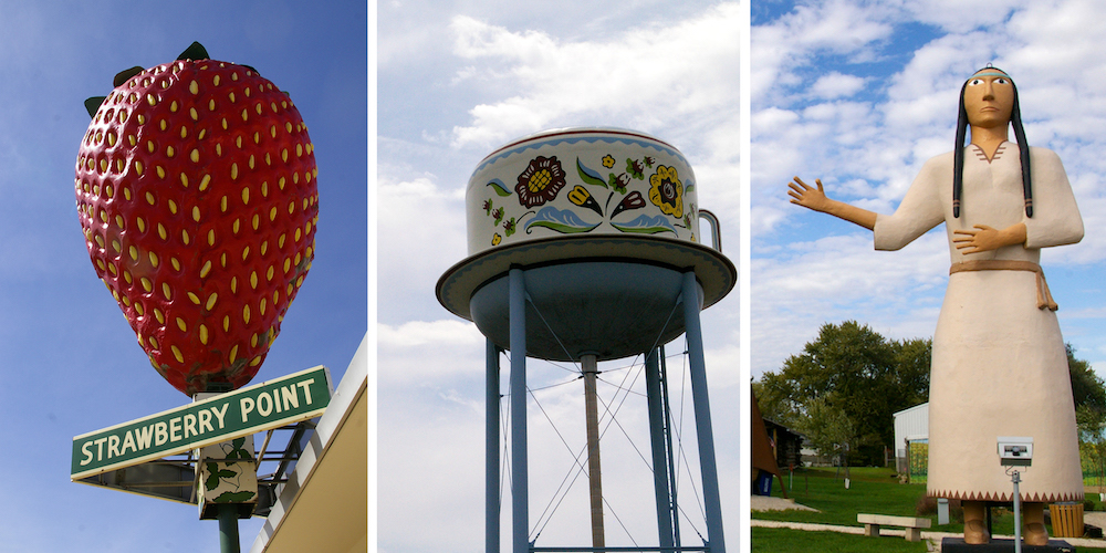 Graphic for blog post about world's largest things in Iowa including image of World's Largest Strawberry, World's Largest Swedish Coffee Cup and World's Largest Pocahontas