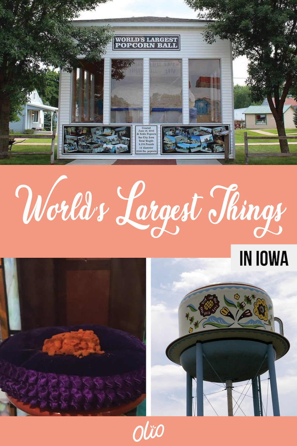There are some many world's largest things in Iowa! From gigantic statues to odd-shaped foods, Iowa is full of road trip worthy offbeat attractions, including the World's Largest Strawberry, World's Largest Ball of Popcorn and more. #Iowa #RoadsideAttractions