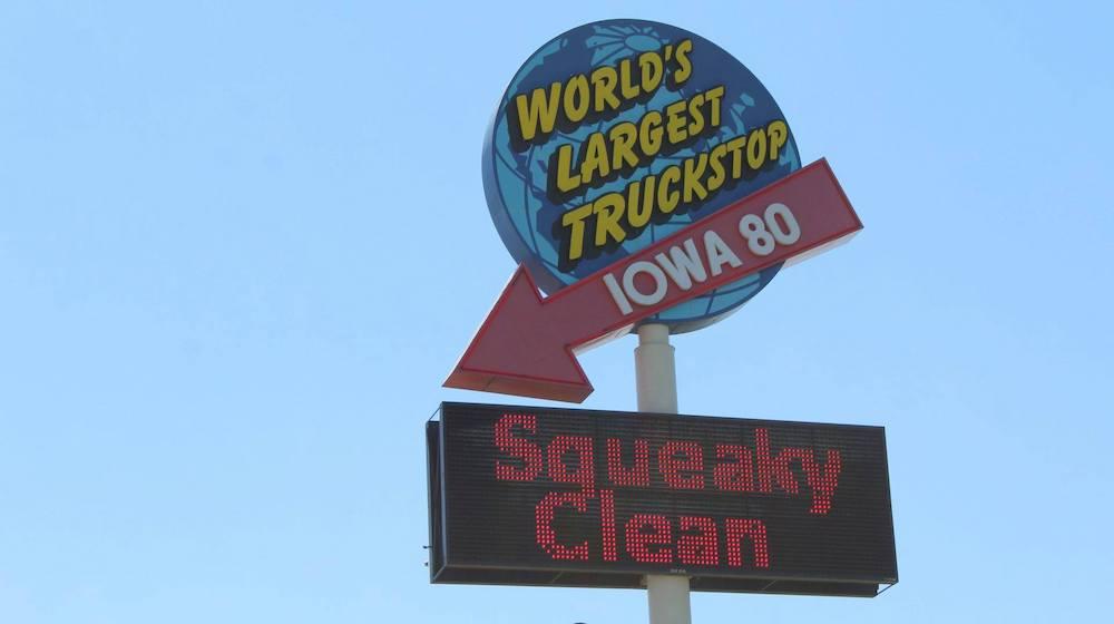 World's Largest Truck Stop sign in Walcott, Iowa
