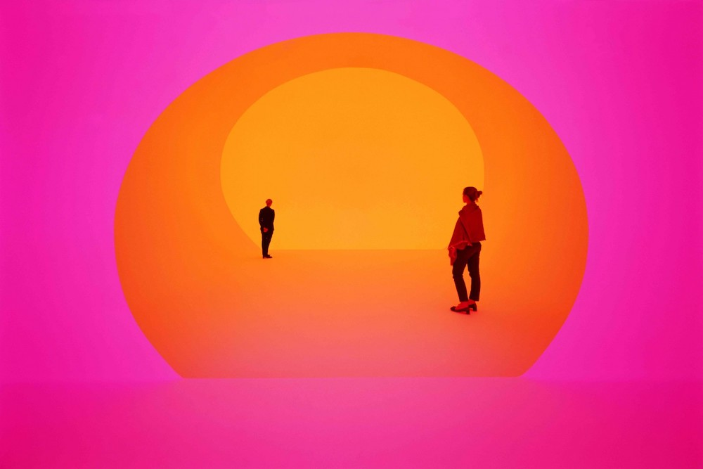 Pink and orange light installation titled Akhob by James Turrell at a Louis Vuitton store in Las Vegas, Nevada