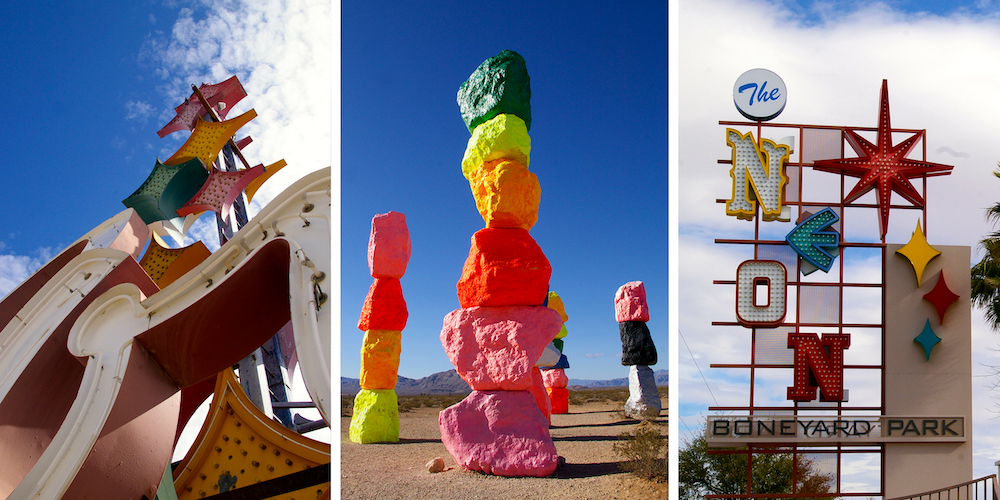 Las Vegas for Art Lovers graphic featuring vintage neon sign, Seven Magic Mountains and the Neon Museum signage