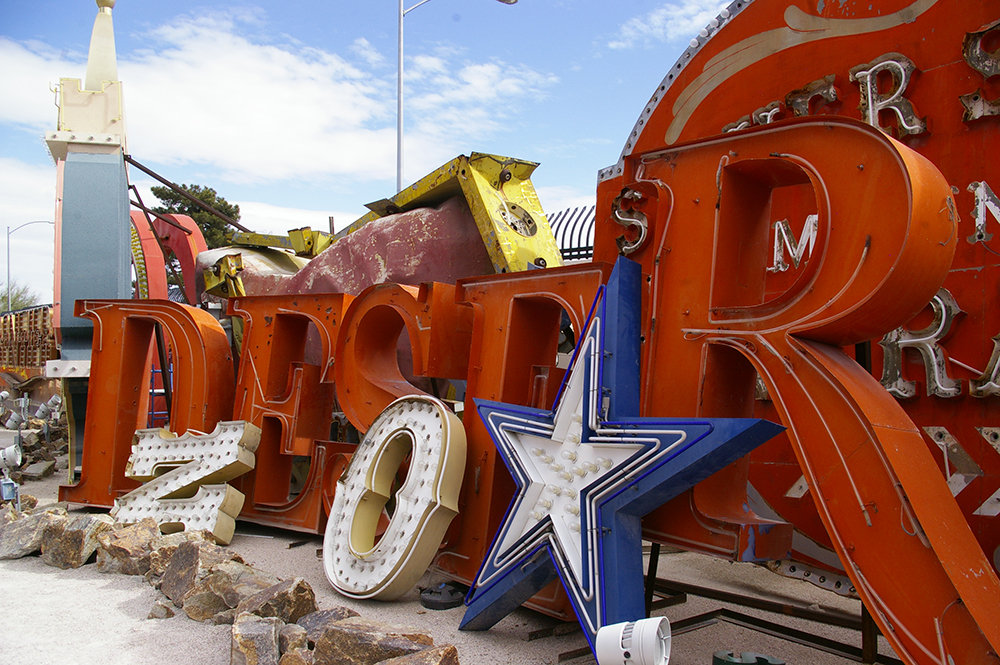 Collection of vintage neon signs at the Neon Museum in Las Vegas, Nevada