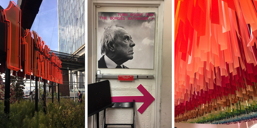 Graphic for an Art Lovers' Guide to New York: Three images including a red neon sculpture, sign for the Borges Bathroom and rainbow streamer installation at the Color Factory