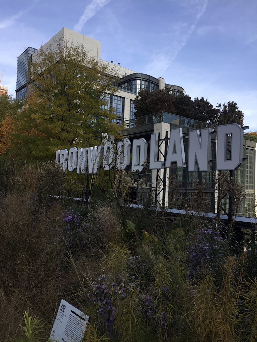 """Art installation that says """"Ironwood"""" along the High Line in New York City"""