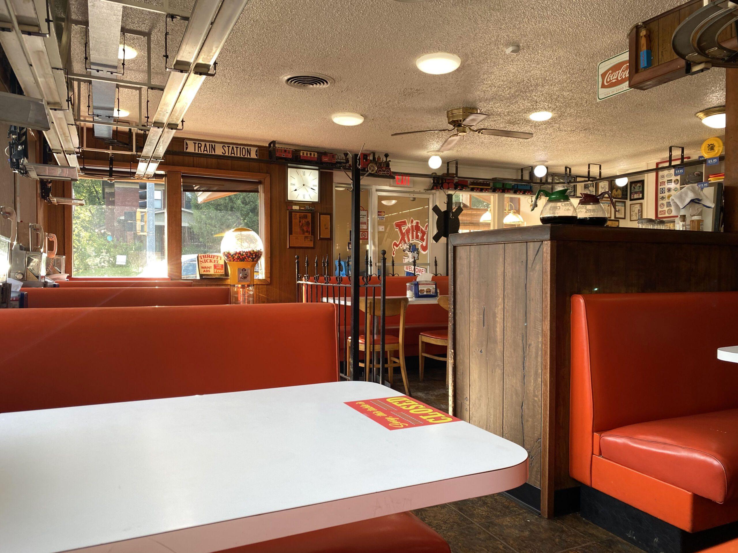 Interior of Fritz's Railroad Restaurant in Kansas City, Kansas
