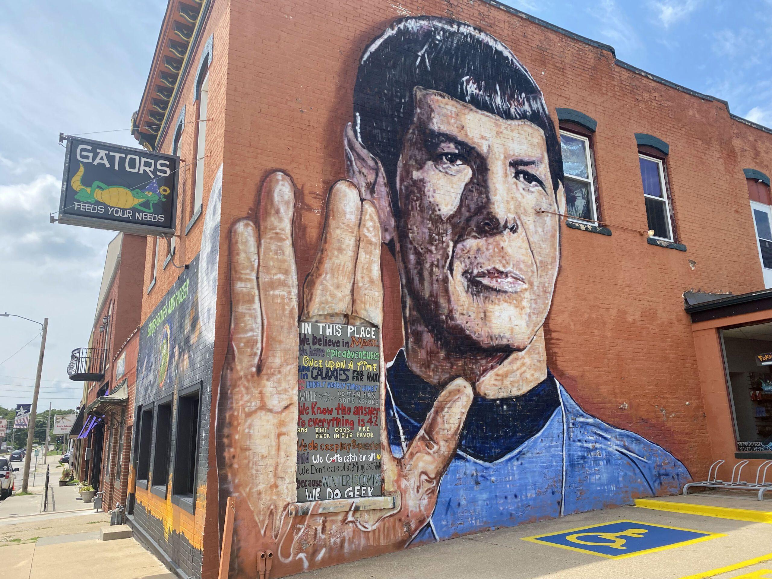 Mural of Captain Kirk on the side of Gators Games & Hobby in Leavenworth, Kansas