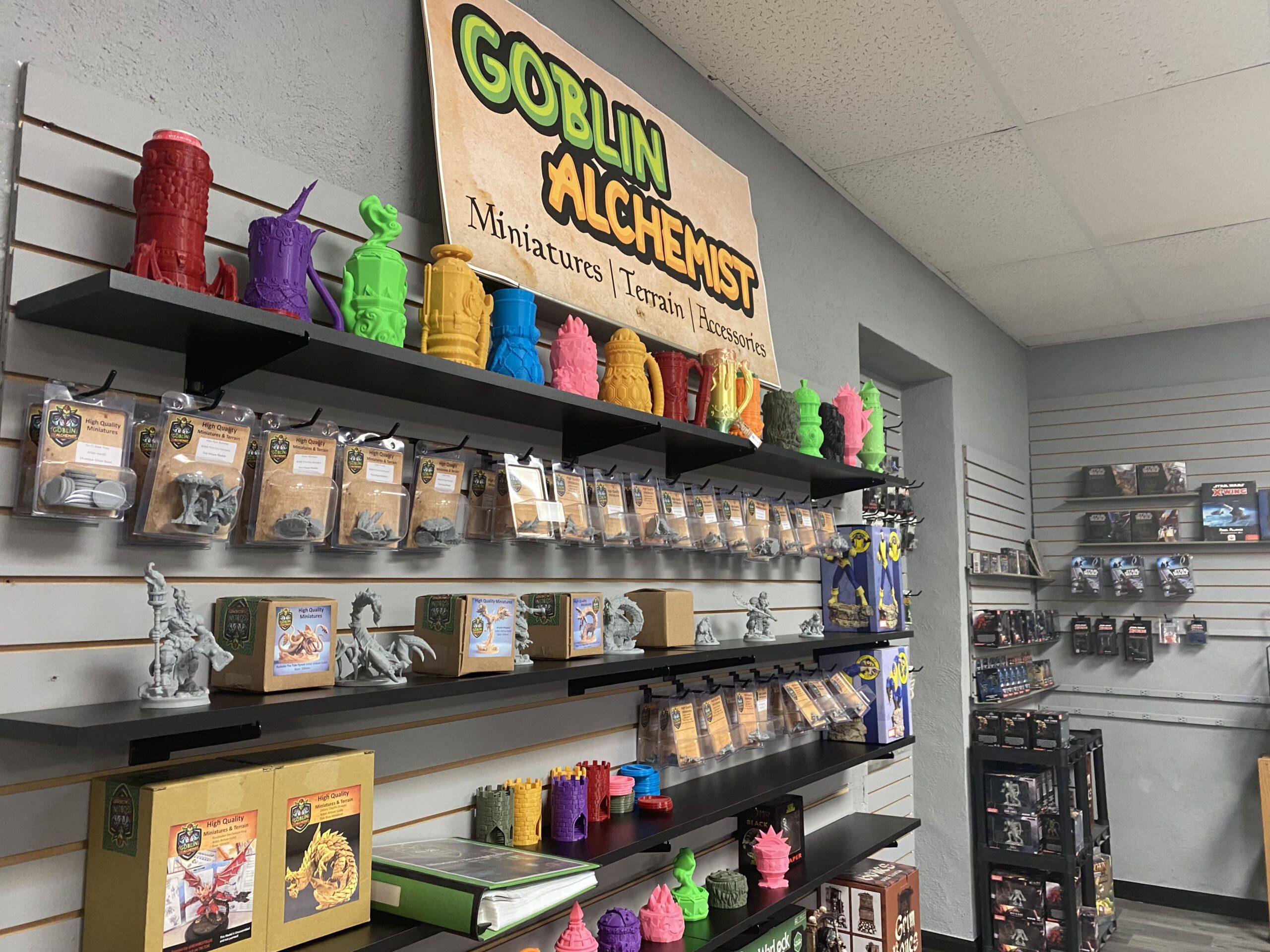 Display of games and figurines inside Gators Games & Hobby in Leavenworth, Kansas