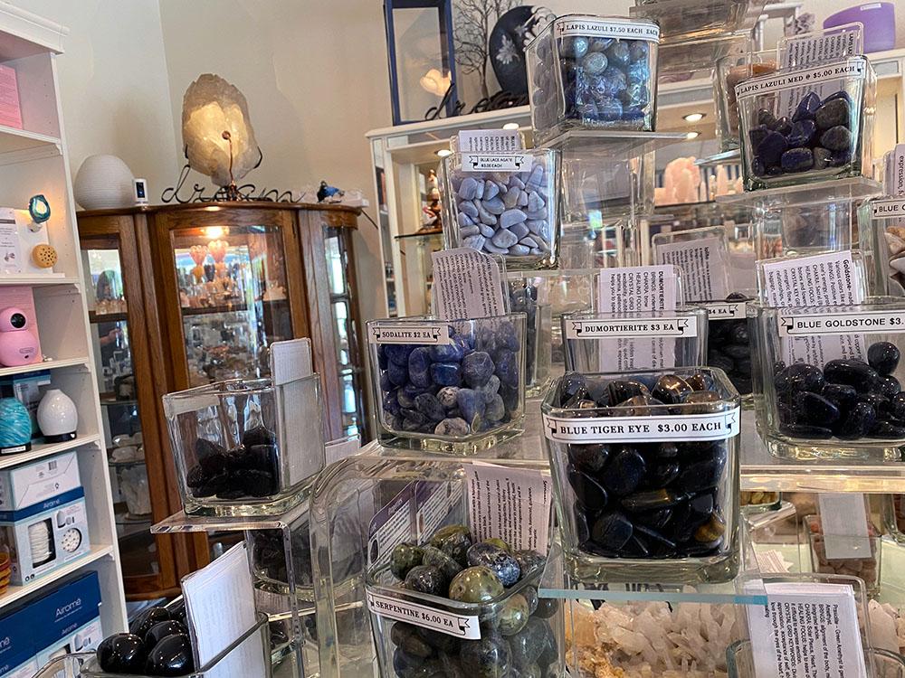 Display of crystals at Gemini in Merriam, Kansas