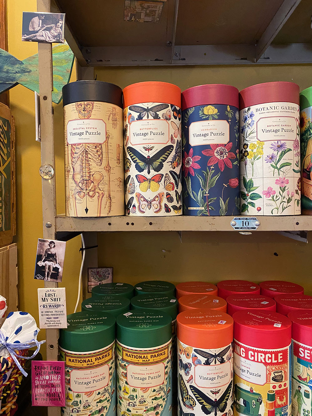 Display of vintage inspired puzzles at the Junque Drawer Boutique & Studio in Olathe, Kansas