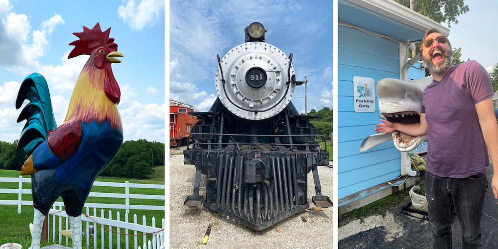 KC Destinations' Quirky Tour graphic: Image of Chick Norris, historic train in Atchison, Kansas, and man pretending to have his arm bitten by shark statue